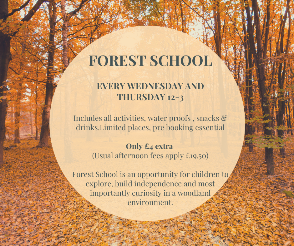 FOREST SCHOOL EVERY THURSDAY 12-3 Includes all activities, water proofs (available if needed), snacks & drinks.Limited places, pre booking essential